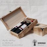 Caja de embalaje de vino de Hongdao del regalo de madera de lujo al por mayor de la botella de cristal con el _E de encargo de la insignia