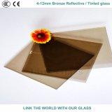 6mm Bronze- u. goldenes reflektierendes/abgetöntes Bronzeglas mit Cer u. ISO9001 für Glasfenster