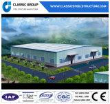 Edificio prefabricado del panel de emparedado de la estructura de acero/almacén de acero