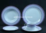Vaisselle de porcelaine réglée avec le modèle de lacet, ensemble de 20