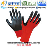 13G Polyester Shell Nitrile Coated Gloves (N1501) Smooth Finish с CE, En388, En420, Work Gloves