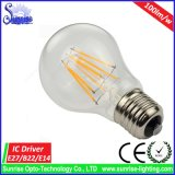 Warmes Lampen-Heizfaden-Birnen-Licht des Weiß-A60 E27 8W LED