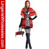 Люкс женщины шнуруют вверх меньший Costume платья Cosplay вычуры красного клобука Riding