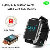 Пожилой вахта отслежывателя GPS с монитором тарифа сердца