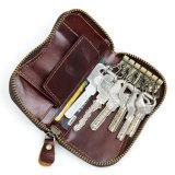 Pochette de support de clé de cuir de Mens de prix usine avec la poche de Cion