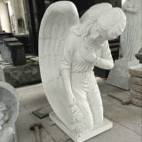 종교적인 백색 대리석 정원 무릎을 꿇기 천사 동상