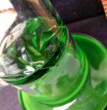 Tubo de agua que fuma pulido con chorro de arena base verde con el tazón de fuente masculino