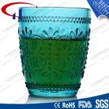 taza de cristal al por mayor verde grabada 240ml del jugo (CHM8185)