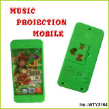 Musical plástico Touch Mobile Phone Candy con Cartoon Toy Projector