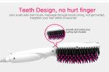 Enderezadora blanca del peine del pelo del LED con los dientes de nylon des alta temperatura del cepillo