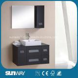 壁はミラーが付いている現代デザインMDFの浴室用キャビネットをハングさせた