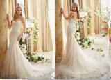 Do querido do vestido nupcial do laço da sereia vestidos 2016 de casamento estratificados