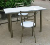 Chairs를 가진 싼 Steel Wood Restaurant Table