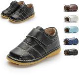 赤ん坊靴の子供の偶然靴の異なったカラーの中のばねの男の子のピカピカの靴の本革