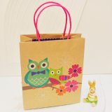 Color Printed Recycle Kraft Paper Shopping Bag con Handles