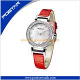 Relógio de pulso da correia de couro de relógio de forma das senhoras do relógio das meninas