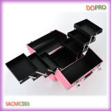 Het roze Geval van de Reis van de Make-up van het Geval van het Metaal Kosmetische Harde Zij (SACMC003)
