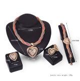 Ювелирные изделия установленного способа PCS браслетов 4 серег кец ожерель формы сердца диамантов золотистые африканские