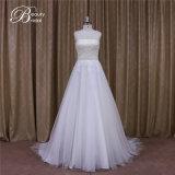 Vestido de casamento Sleeveless frisado de Tulle do preço de fábrica de 174 China para nupcial