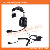 Geräusche, die einzelne Ohrenschützer-Kopfhörer mit abnehmbarem Kabel für bidirektionalen Radio beenden