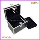 Simple escoger el rectángulo de cuero abierto de la vanidad del maquillaje del PVC con el espejo (SACMC079)
