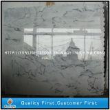 Azulejos blancos cristalinos Polished de la piedra del mármol de la onda para pavimentar el suelo