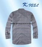 Camisa pequena Khaki e azul da verificação para o homem novo