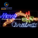 Animated 230cm Wide LED 'Merry Christmas' Sign con velas Motif cuerda luces