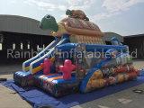 Tortuga comercial de la casa de la despedida del trampolín de la gorila inflable inflable inflable del puente combinada