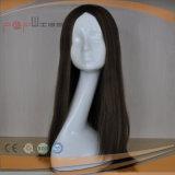 Peluca delantera atada mano completa superior de seda sin tocar 100% del cordón del color del pelo de la Virgen