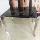 Marble elegante Top Dining Table con Four Legs Silver Color