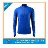 Mens 1/2 Zip Polyester Spandex Sports Top avec Logo