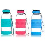 bottiglia di acqua di vetro di Borosilicate 300ml con il coperchio del silicone