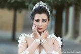 Vestido de casamento árabe inchado G1705 do laço nupcial longo completo de Tulle do vestido de esfera das luvas