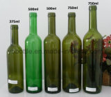 375ml / 500ml / 750ml Garrafa de vidro de vinho de uva Amber Bordeaux com cortiça