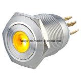 interruptor de pulsador momentáneo iluminado PUNTO amarillo del acero inoxidable 1no1nc de 19m m