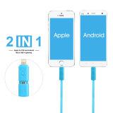 Rotação de borracha lisa 2 em 1 cabo do USB para o iPhone e o Andriod