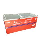 congelador profundo do console do gabinete da porta 496L deslizante para o supermercado