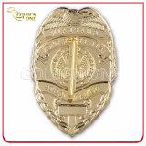 Divisa de encargo de la seguridad del metal del chapado en oro con el sostenedor del cuero genuino