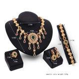 목걸이 귀걸이 팔찌 반지는 형식 4 PCS 고정되는 합금 황금 신부 보석을 놓았다
