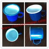 Taza del esmalte de la porcelana del arrabio/taza de té con el borde del rodillo