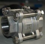 válvula de esfera 2PC fêmea de 100wog Ss316 com ISO9001