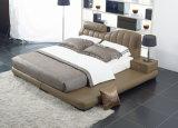Кровать мебели спальни изготовления Foshan славная двойная кожаный мягкая