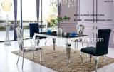 Jogo de sala de visitas, tabela de jantar de vidro e cadeira