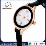 Alta qualidade grande do relógio da face dos relógios duplos Multifunctional do tempo com faixa de couro