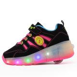 Außenhandel-Rosa-Sport bereift LED-helle Rollen-Rochen-Turnschuhe für Kinder mit Rollen-Rochen-Schuh-Laufen der Rad-dem einziehbaren LED