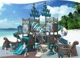 La serie esterna della nave di pirata del campo da giuoco dei bambini di Kaiqi con il tubo fa scorrere le scale e lo scalatore