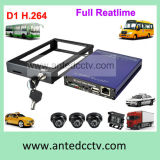 4 canaleta SD Card Mobile DVR para Vehicles, H. 264 D1 Mini Mobile 4CH Car DVR Recorder com GPS