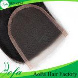 Extensão do cabelo humano de Remy do cabelo da onda do corpo do fechamento do laço da qualidade superior