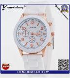 Relógio plástico quente das mulheres da moldura da borracha de silicone do relógio de quartzo de Japão Movt da venda Yxl-787